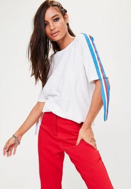 Weißes Oversize T-Shirt mit langen Kontraststreifen