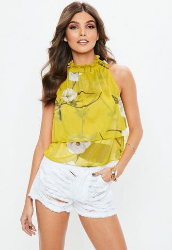 Yellow High Neck Floral Printed Layered Top Missguided