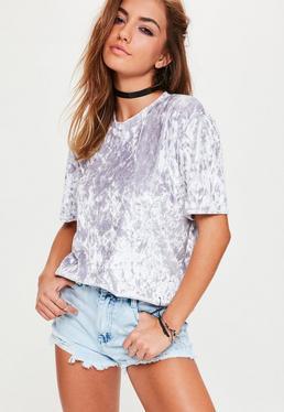 Lila Knittersamt T-Shirt