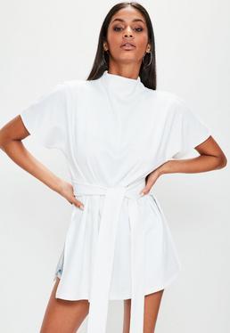 White Tie Waist Side Split Tunic Top