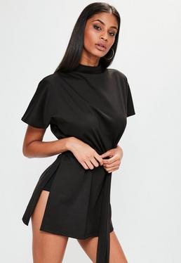 Black Tie Side Split Tunic Top