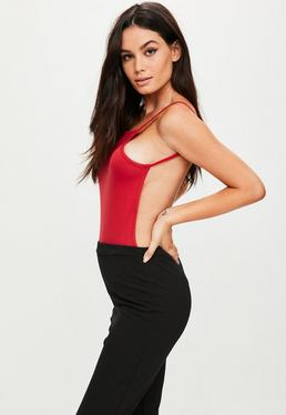 Red Backless Bodysuit