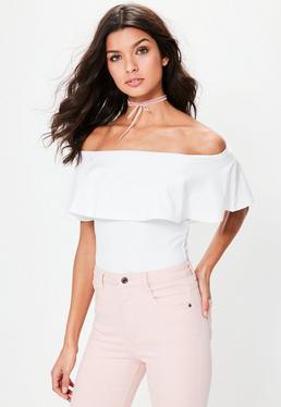 White Frill Bardot Bodysuit