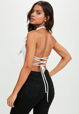 White Lace Up Back Bodysuit