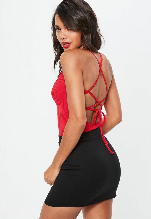 Red Lace Up Back Ribbed Bodysuit