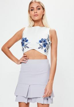 Cream Floral Embroidered Bandage Crop Top