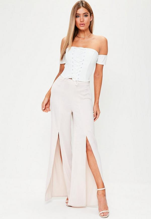 White Corset Lace Up Bardot Crop Top | Missguided