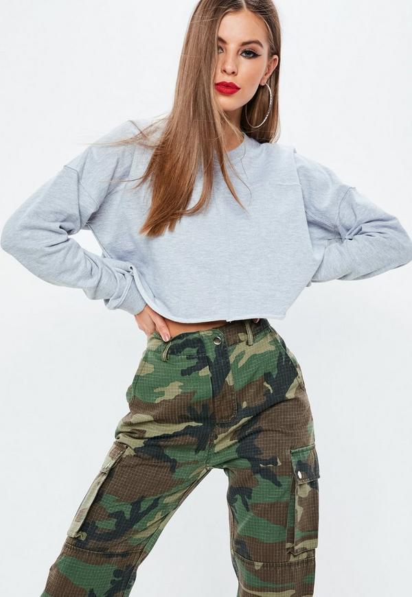 Grey Raw Hem Cropped Sweatshirt