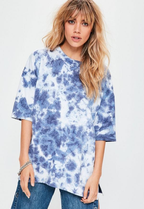 Blue Tie Dye Short Sleeve Sweatshirt