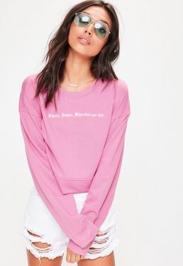 Pink Romeo Slogan Cropped Sweatshirt
