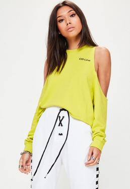 Grafik Cold-Shoulder Sweatshirt in Gelbgrün