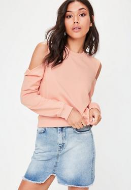 Pink Cold Shoulder Sweatshirt