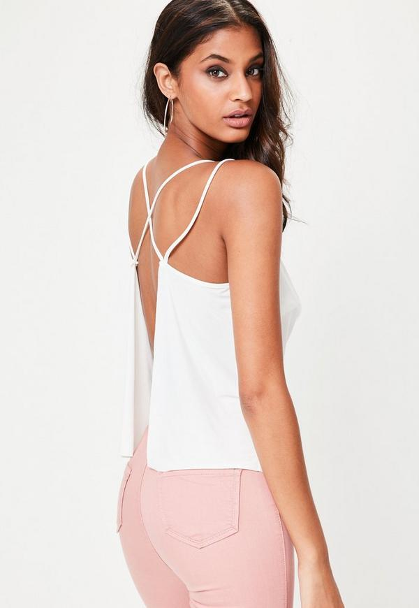 White Cowl Front Cross Back Top