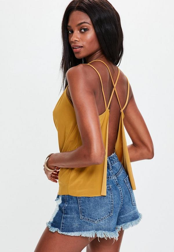 Mustard Yellow Cowl Back Top