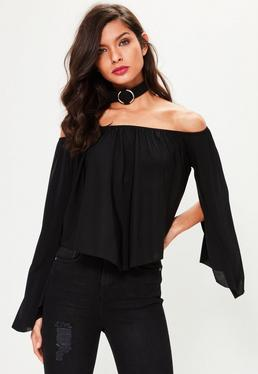 Black Slinky Bardot Flare Sleeve Top