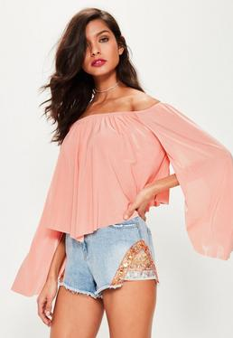 Pink Slinky Bardot Flare Sleeve Top