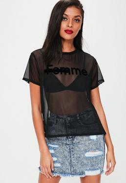 Schwarzes Mesh T-Shirt mit Femme-Grafik