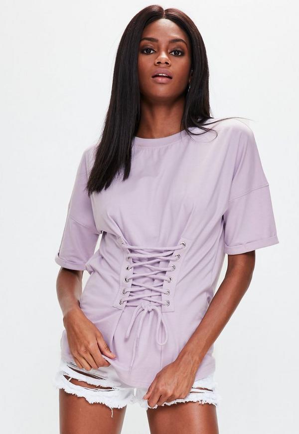 Purple Corset Lace Up Front T-shirt