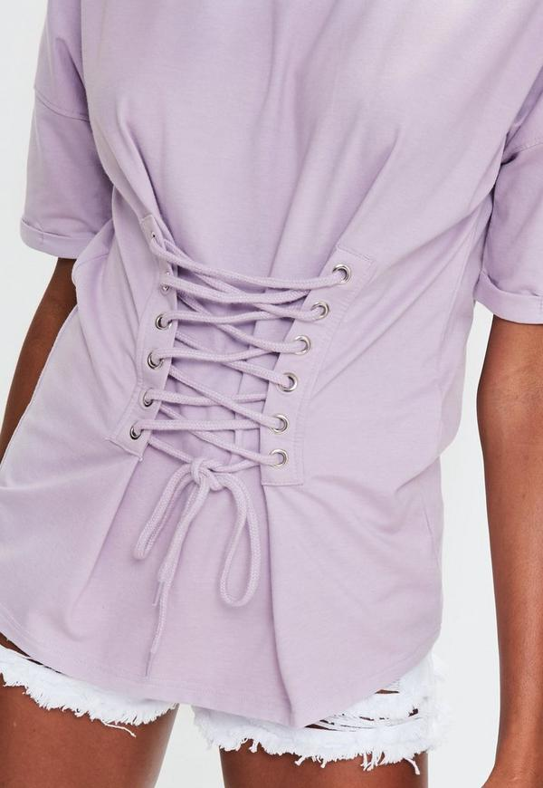 Purple Corset Lace Up Front T Shirt Missguided