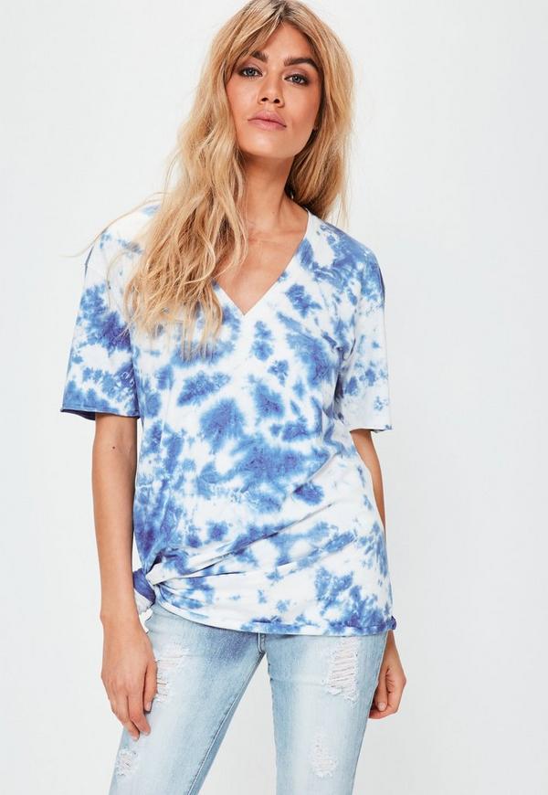 Blue Tie Dye Boyfriend T-Shirt
