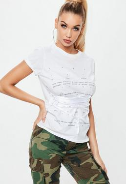 Biały T-Shirt z nadrukiem i gorsetowym wiązaniem
