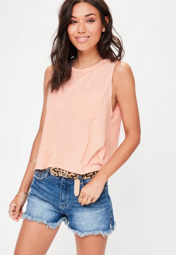 Pink washed Pocket Vest