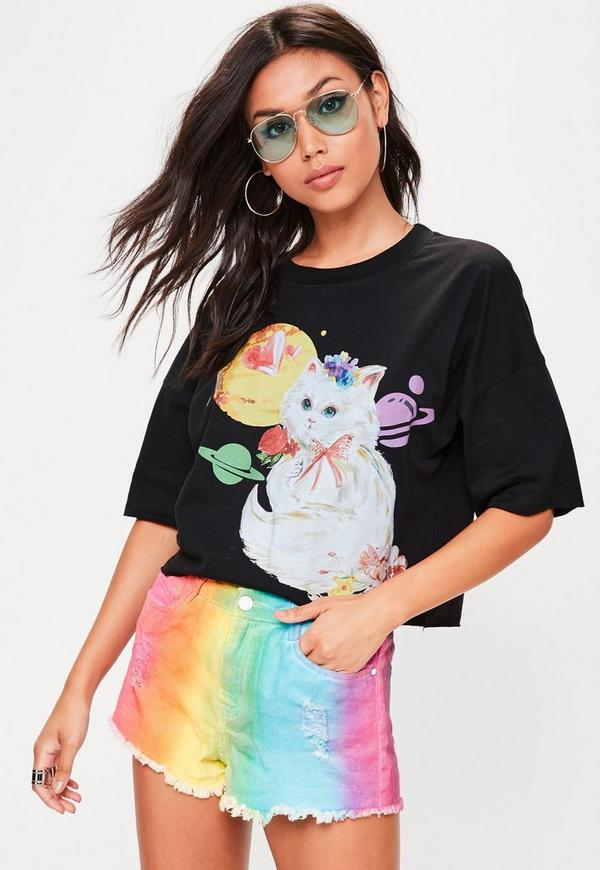 Black Cat Graphic Cropped T-Shirt
