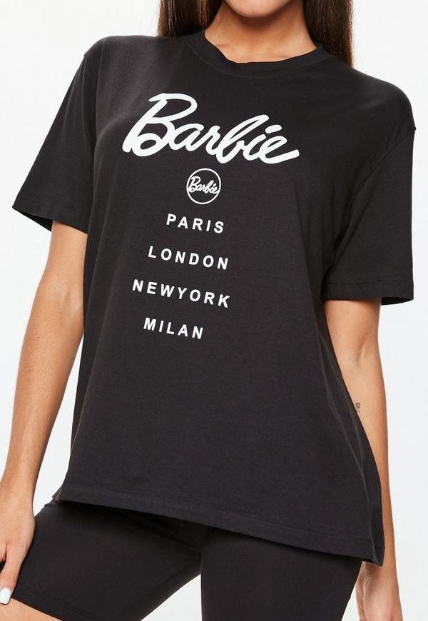Barbie x missguided black short sleeve 39 city 39 t shirt for Black barbie t shirts