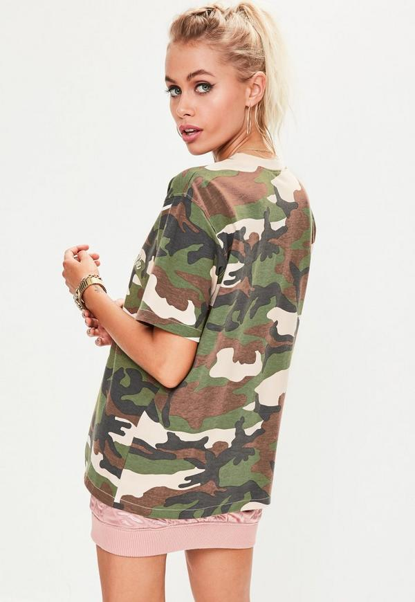 Barbie x missguided green short sleeve camo printed t for Camouflage t shirt printing