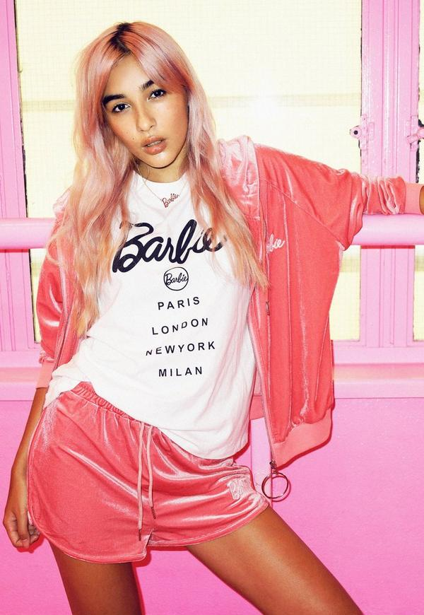 Barbie X Missguided Pink Velour Ring Pull Ribbed Hem