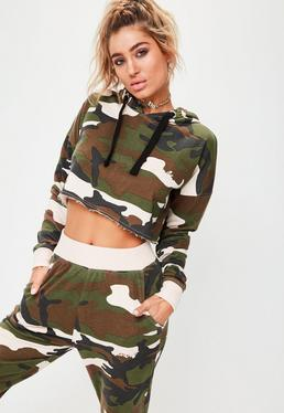 Barbie x Missguided Long Sleeve Camo Cropped Hoody Multi