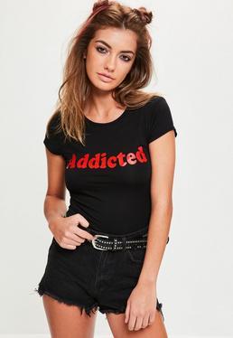 Black Addicted Slogan Short Sleeve Crop Tshirt