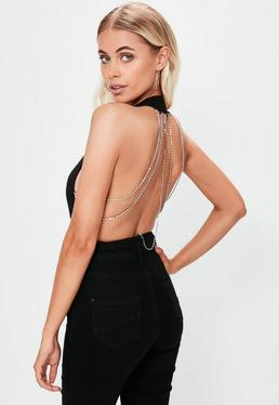 Black Plunge Neck Diamante Back Bodysuit