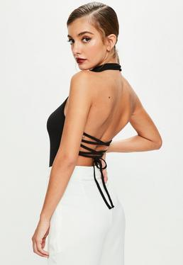 Black Lace Up Back High Neck Bodysuit