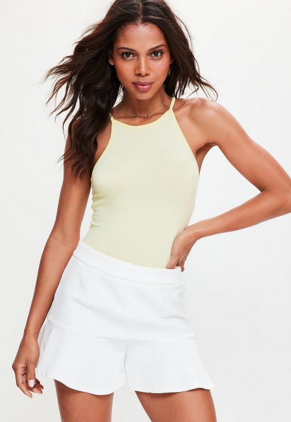Yellow 90s Neckline Sleeveless Bodysuit