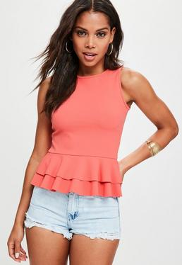 Doppel-Peplum Top in Rosa