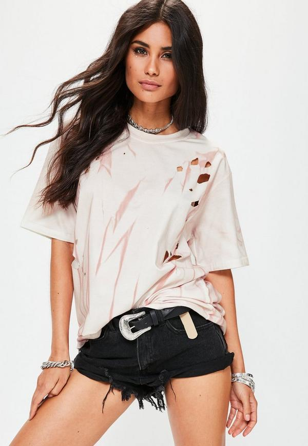 Pink Distressed Washed T-Shirt