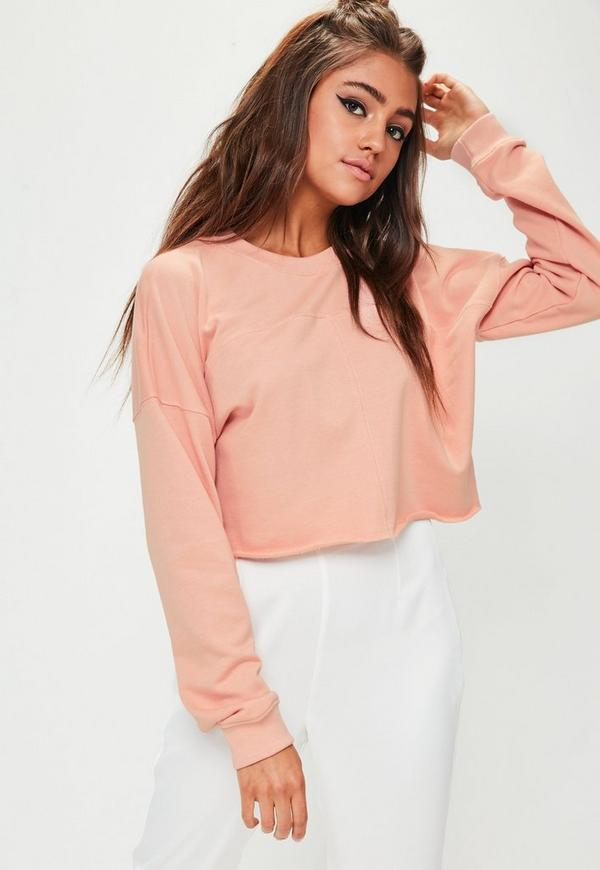 Pink Raw Hem Cropped Sweatshirt