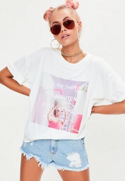 Barbie x Missguided Weißes T-Shirt mit 'Be There'-Grafik