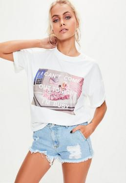 Barbie x Missguided Camiseta con estampación i'm busy en blanco