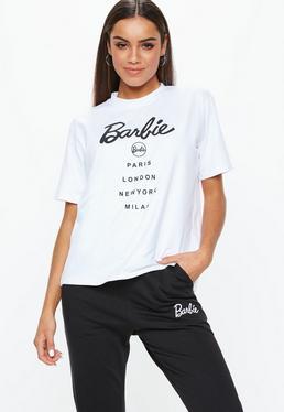 Barbie x Missguided Biały luźny T-Shirt z nadrukiem Barbie
