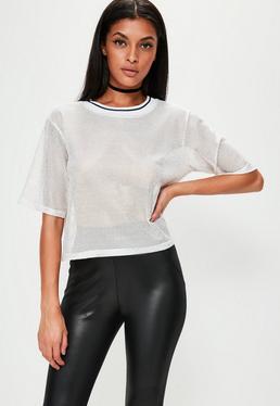 T-shirt blanc en résille à bande contrastante
