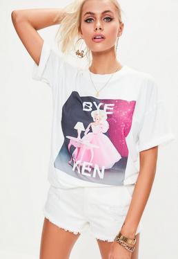 Barbie x Missguided Biały T-shirt z nadrukiem 'Bye Ken'
