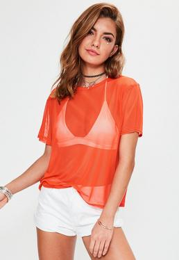 Orange Mesh T-Shirt
