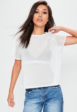 White Mesh T-Shirt