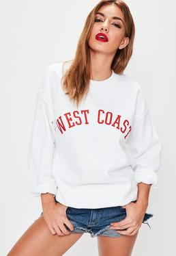 Sweat blanc à imprimé West Coast