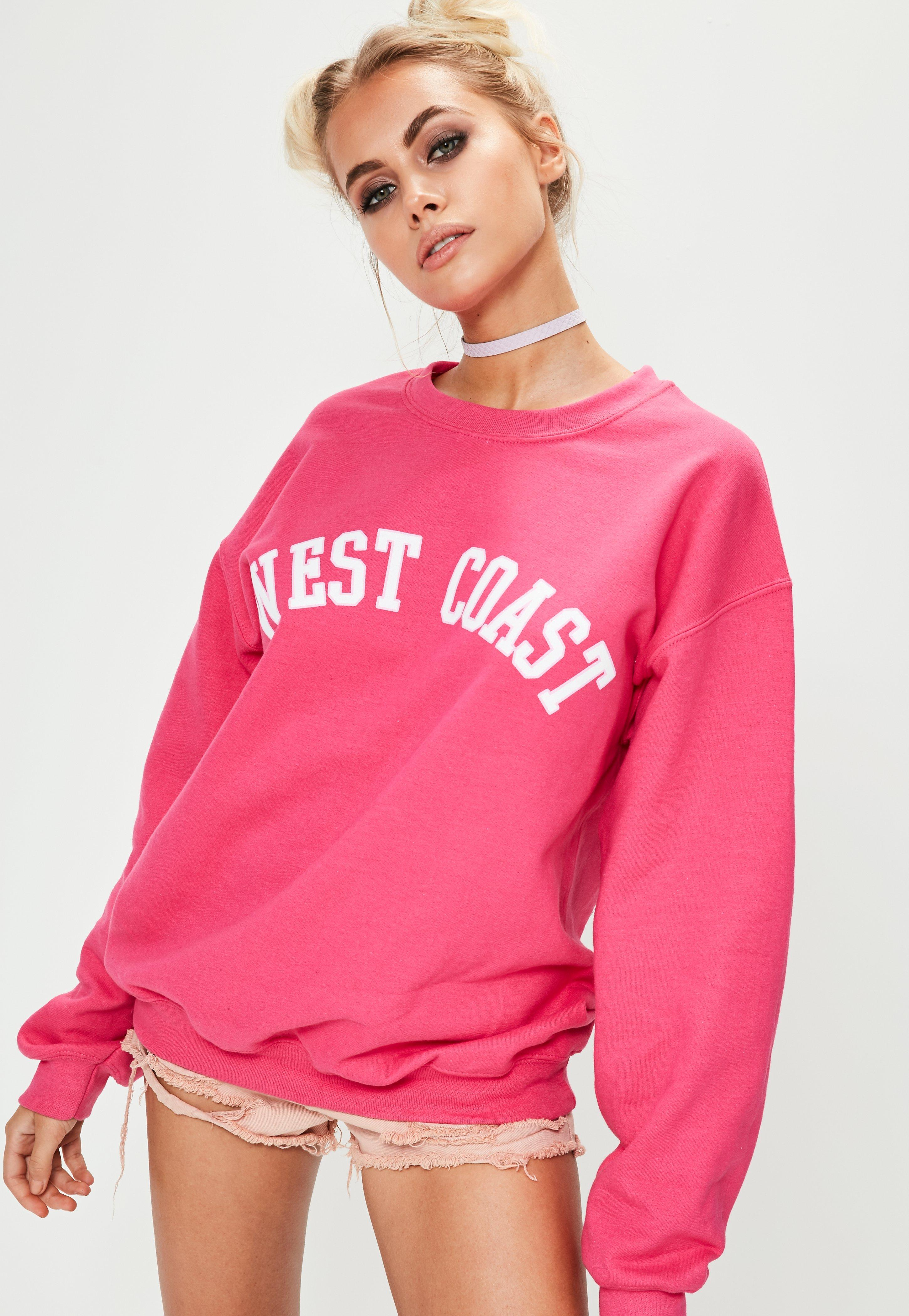 outlet store aliexpress affordable price Missguided Hot Pink West Coast Slogan Sweatshirt at £18 | love the ...