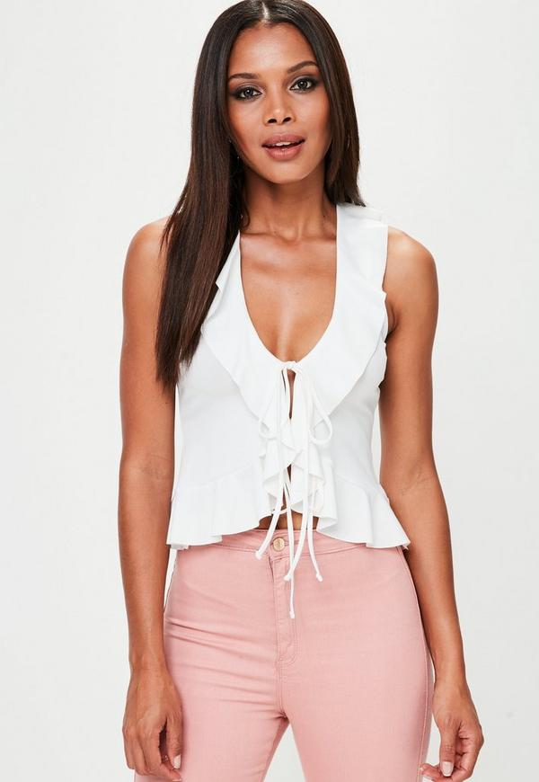 White Frill Tie Front Top