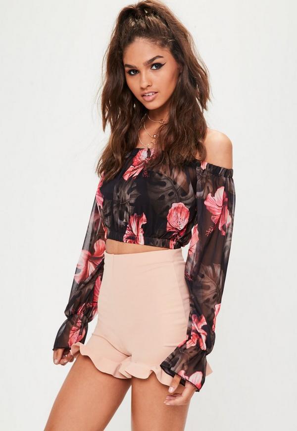Black Floral Frill Sleeve Mesh Bardot Top