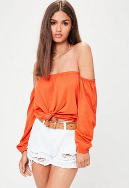 Orange Bardot Tie Front Crop Top